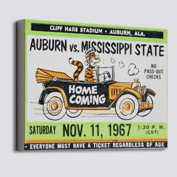 1967 Mississippi State vs  Auburn Canvas